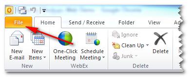 Outlook 2010 File Button