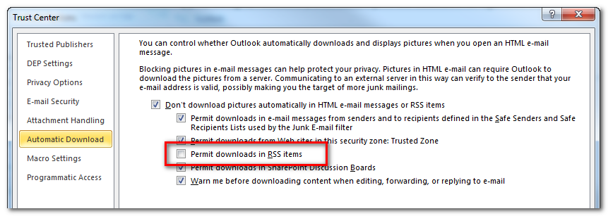 Outlook 2010 Disable Images in RSS Feeds