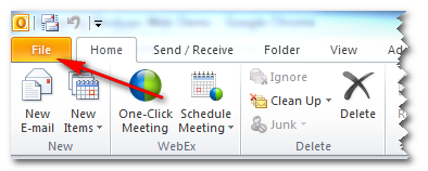 Outlook 2010 File Button